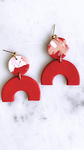 Red Clay Earrings/Modern Abstract Dangles Design/Lightweight Dangle and Drop Hypo-allergenic/Statement Earrings/Valentine Gift for her Art Clay Dangle Earrings