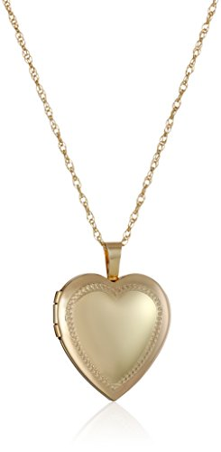 - 14k Gold-Filled Heart Millgrain Edge Locket Necklace, 18