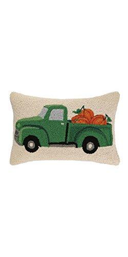 - Fall Truck With Pumpkin Hook Wool Lumbar Pillow 12'' x 18'' x 5'' Hand Made Hook Pillow.
