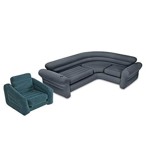 Intex Inflatable Portable Indoor Corner Couch Sectional Sofa w/Cupholders, GrayIntex Inflatable Pull-Out Chair and Twin Bed Air Mattress Sleeper | 68565EP ()