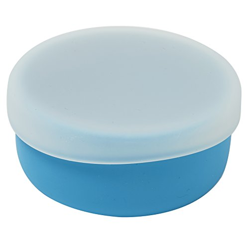 modern-twist Silicone Toddler Snack Bowl with Lid, Blue, 100% Pure Spill-proof Dishwasher Safe, Plastic Free
