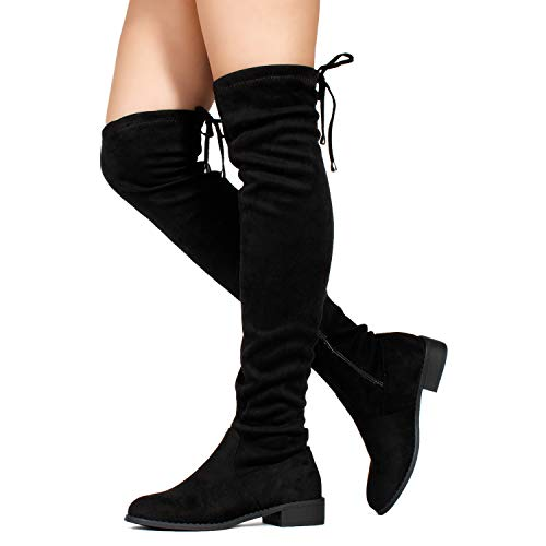 RF ROOM OF FASHION Stretchy Over The Knee Riding Boots (Medium Calf) Black SU (9)