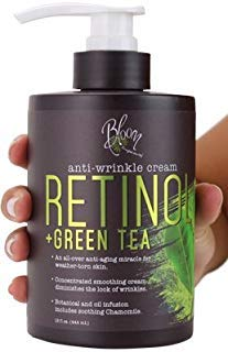 Bloom Retinol + Green Tea Cream Anti-Wrinkle For Fine Lines, Wrinkles, Sun Damaged Skin, Age Spots, Crows Feet. Large 15oz Bottle (Best Cream For Sun Damaged Skin)