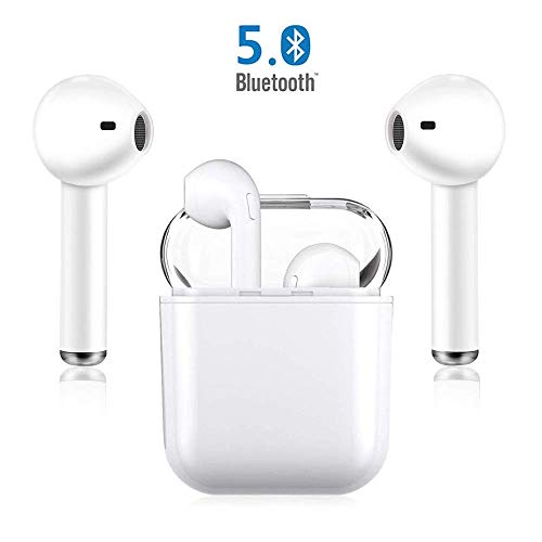 Bluetooth Earphones Wireless Earbuds in-Ear Headphones Hands-Free Calling Noise Reduction Headsets for iPhone XR X 8 8plus 7 7Plus 6 6plus Samsung Galaxy S9 S8 Huawei Android-White