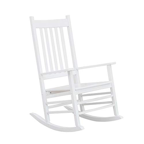 B&Z KD-25W Wooden Rocking Chair Heirloom Contoured Porch Rocker Indoor Outdoor (White)