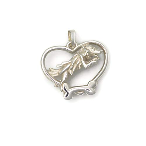 - Sterling Silver Border Collie Necklace, Silver Border Collie Pendant, Silver Border Collier Jewelry fr Donna Pizarro's Animal Whimsey Collection