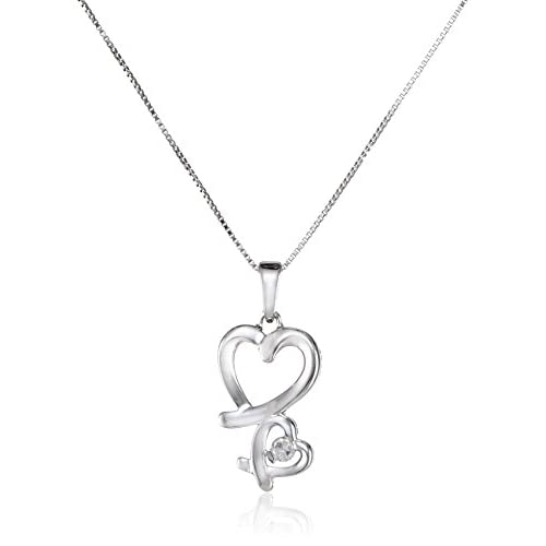 Sterling Silver Double Open Heart Diamond (1/10cttw, I-J Color, I2-I3 Clarity) Pendant Necklace, 18""