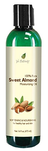 Sweet Almond Oil for Skin, Hair, Massage, & Cooking - 100 % Pure Hexane Free - No Fillers, Dyes or Artificial Ingredients of Any Kind - 16 Fl Oz