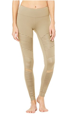 Alo Yoga Women's Moto Legging, Gravel/Gravel Glossy, S by Alo Yoga