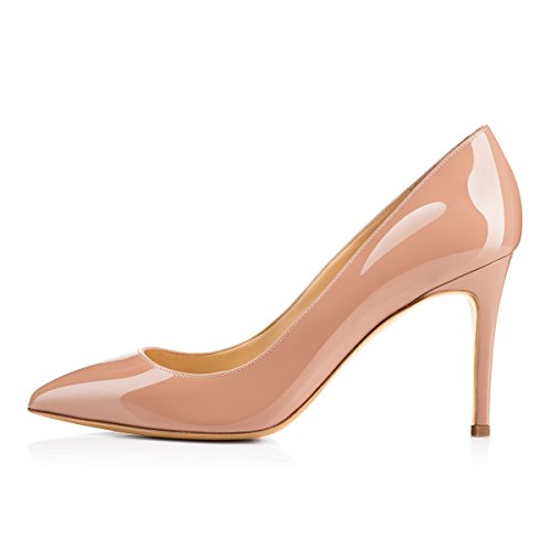 Women's High Heel Stiletto Pointed Toe Pumps (Apricot) - 8
