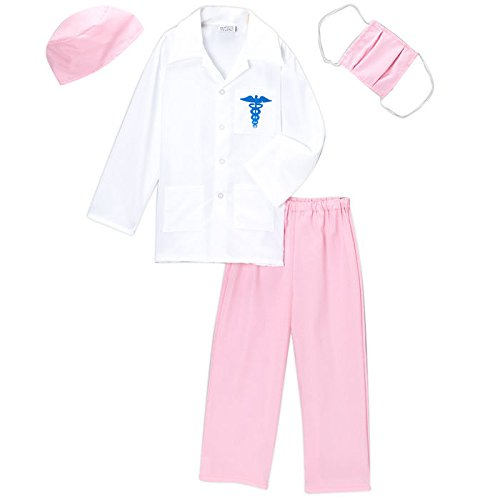 [Girls Pink Doctor Deluxe Costume Set, Size 4/6] (Pink Doctor Costumes)