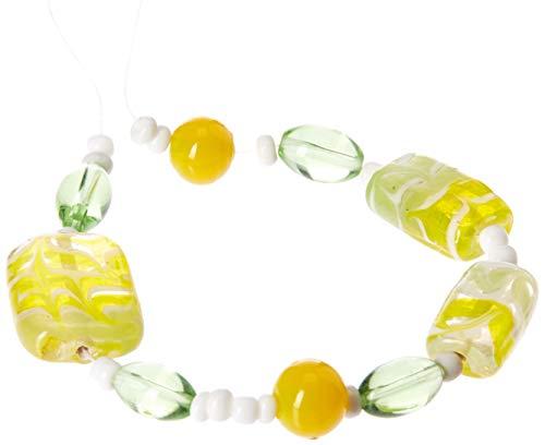 Cousin Jewelry Basics Glass Bead Mix, Green and Yellow Swirl, ()