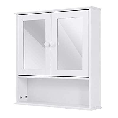 Tangkula Bathroom Cabinet Wall Mounted with Double Mirror Doors, Wood Hanging Cabinet with Doors and Shelves, Bathroom Wall Mirror Cabinet (White) - 【Multi-function Use】Bathroom wall cabinet is ideal for bathroom, bedroom, living room or kitchen. It features enclosed shelf with double mirror doors, and one open shelf to place towels, soap, tissues and other decorative items. In addition you can also put some green small plants on the open shelf to make your item neat and beautiful. 【Space-saving】Bathroom cabinet is a perfect storage solution for homes. It's design maximizes the space of your room. It can be assembled on wall or over the toilet and comes space-saving, provides extra storage without taking up valuable floor space. 【Simple and Stylish Design】The Tangkula mirror wall cabinet has a simple and stylish design, woody material is full of texture It is conveniently store towels, medicines ,tableware or other things, meanwhile to add a modern feeling to your home. It is a ideal option for you. - shelves-cabinets, bathroom-fixtures-hardware, bathroom - 31xSPXB3FOL. SS400  -