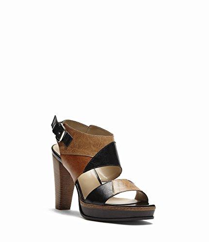 PoiLei Pia beige - sandales en cuir - à talon haut épais et plateau beige