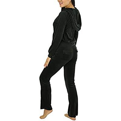 ToBeInStyle Women's Velour Tracksuit Zip-Up Hooded Jacket and Matching Pants at Women's Clothing store