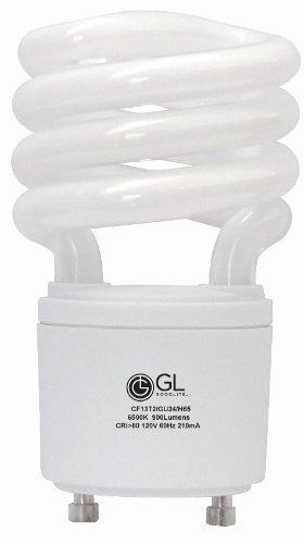 - Goodlite G-10862 30 13-watt Replacement Mini Compact Fluorescent 900-Lumen 6500K T2 Spiral Light Bulb with GU24 Base Twist and Lock, Daylight, 50-Pack