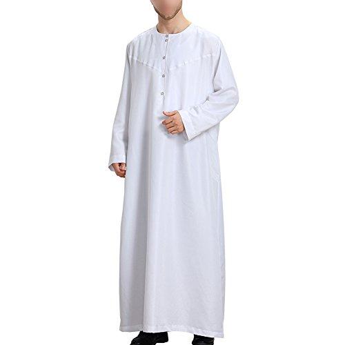Xinvision Musulmans Moyen-orient Arabe Manches Longues Robes Solides Hommes De Couleur De Style Arabie Dishdasha Vêtements Ethniques Pakistan Hindu Jewish Caftan Islamic, Th808 Blanc