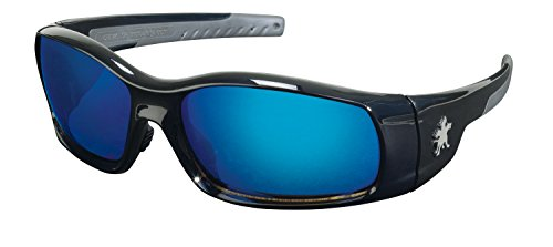 - Crews SR118B Swagger Brash Look Polycarbonate Dual Lens Glasses with Polished Black Frame and Blue Diamond Mirror Lens