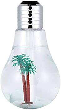 HHuin Humidificador de Bombilla 400ml Humidificador de Aire USB Lámpara de Noche LED Colorida Difusor de Aceite Esencial para la Oficina en casa