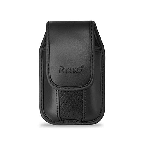 Black Leather Case with Pinch Clip for CoolPad Snap Flip Phone