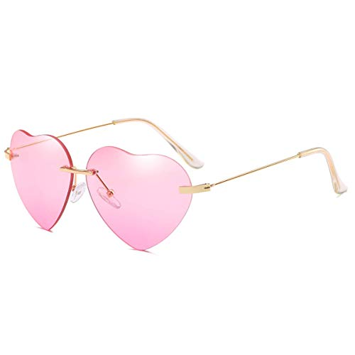 Dollger Pink Heart Sunglasses Women Rimless Sunglasses Thin Metal Frame -