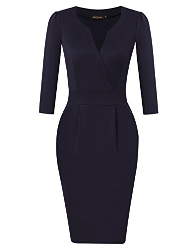 c4a9618f7cde0 HiQueen Womens 3/4 Sleeve Vintage Pencil Dress Navy Party Work - Import It  All