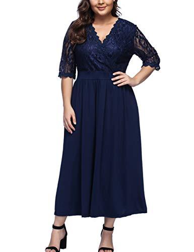 Women's V Neckline Floral Lace Top Plus Size Cocktail Party Midi Dress