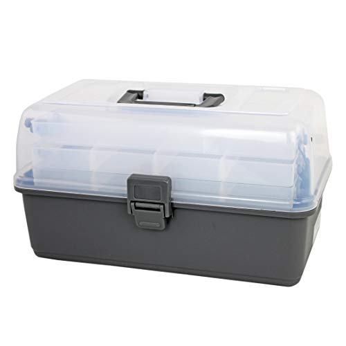 Bins & Things Fishing Tackle Box with 3 Fold Out Multi-Tier Trays | Sturdy Fishing Gears and Equipment Organizer with Divided Compartments