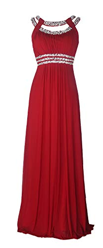 (Licoco Women Sleeveless Beaded Semi-Formal Long Maxi Evening Gown Wedding Dress (Burgandy70,)