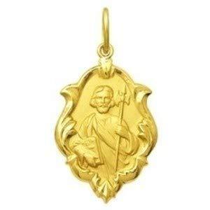 Medalha São Judas Tadeu em Ouro 18k Ornato 1,0cm 0,50g