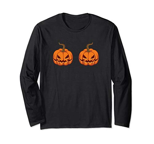 Jack O Lantern Bra Pumpkin Boobs Costume Long Sleeve T-Shirt]()