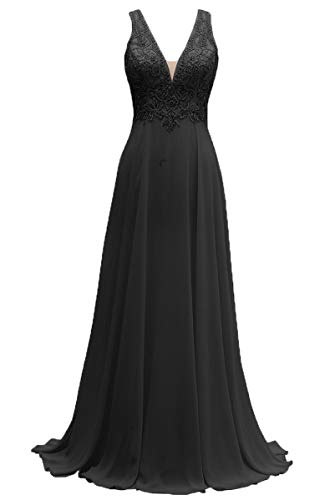 V-Neck Bridesmaid Dresses Long Beaded Chiffon Lace Beach Wedding Aline Evening Gowns for Women Black Size 16 ()