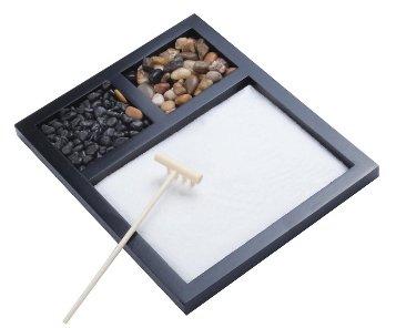 The Titus Shop Zen Sand Garden with Rocks kit, tabletop, sand box art decor, mini sandbox (Rock Zen)