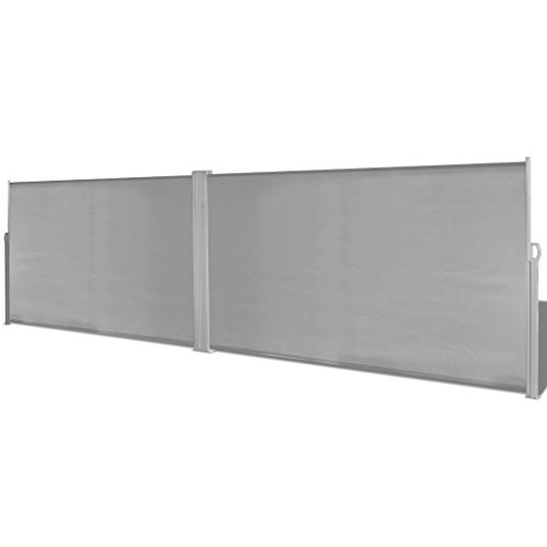 Festnight Patio Retractable Double Privacy Wall Corner Folding Side Awning Screen Divider Fence with Steel Pole Garden Outdoor Sun Shade and Wind Scree for Lawn Backyard Gray 19.6 x 5.3 Feet (L x H)