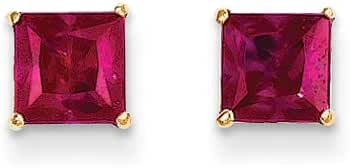 5mm Square Princess Ruby Stud Earrings in 14K Yellow Gold