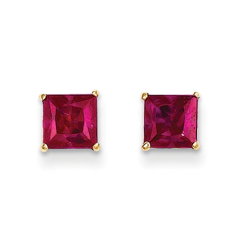 5mm Square Princess Ruby Stud Earrings in 14k Yellow Gold Faceted Ruby Earrings