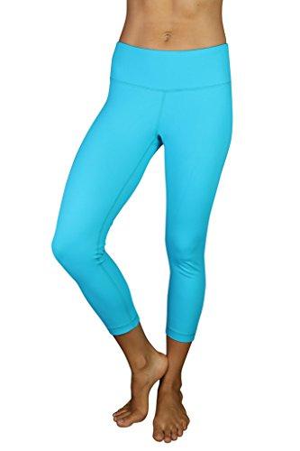 90 Degree By Reflex Yoga Capris - Yoga Capris for Women - Hidden Pocket-Peacock Blue-XS