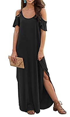 GRECERELLE Women's Summer Casual Loose Long Dress Strapless Strap Cold Shoulder Short Sleeve Split Maxi Dresses with Pocket