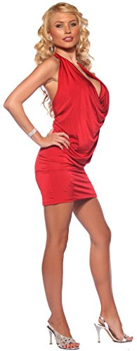 Womens Open Back Cowl Neck Mini Halter Party Dress With Matching Bikini