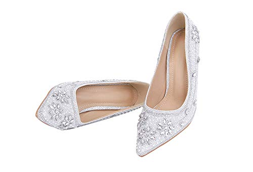 Mariée Uk 7 Heel 5 Silver Chaussures Soirée Formelle Heel Des Taille Avec Qiusa 5cm Cristal De coloré Dames Fashion Robe Perlées En ZRqn1gY