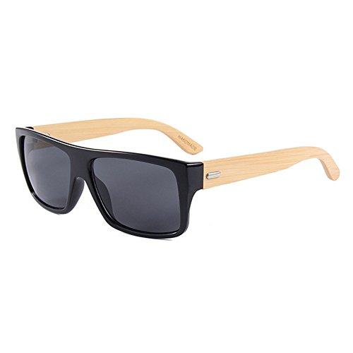 Adecuado Gububi bambú Hombres Protección Color múltiples de a Superior de Unisex Plano para de Sol al Aire para Fines y Mujeres Hecho Gafas Mano Libre Color De Diario Animal Print Negro Lente UV Uso R7RwWrBq
