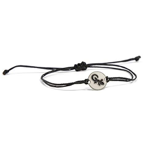 (Stainless Steel Lizard Charm on Double Black String Adjustable Bracelet for Men and Women - Waterproof, Hypoallergenic Jewelry)