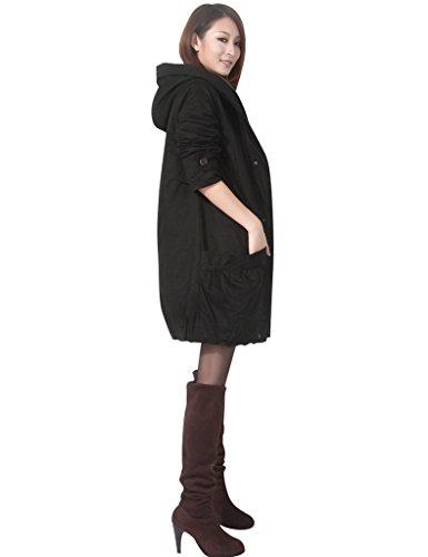 Manteau Femmes Éclair Hiver Épaissir Noir Fermeture Youlee Coton xYR7qpZRw