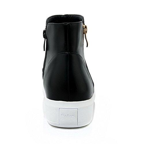 AgooLar Damen Niedriger Absatz Niedrig-Spitze Rein Reißverschluss Stiefel mit Metallisch Schwarz