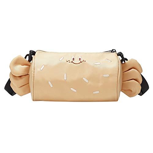 Girl Cute Cylinder Bag Candy Female Purse Shoulder Messenger Bag Canvas Pencil Cases (Beige)