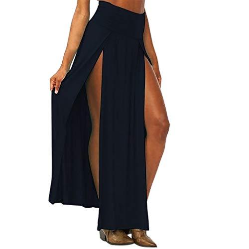 (Riuda Womens High Waisted Chiffon Flowy Vintage Skirts Side Split Long Maxi Bottom Sexy Dress Black)