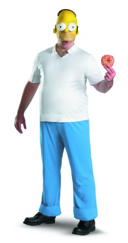 Disguise The Simpsons Homer Deluxe Mens Adult Costume, Blue/White/Yellow, (The Simpsons Homer Deluxe Adult Costumes)