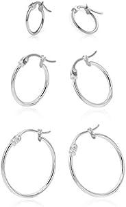 Sea of Ice Sterling Silver 3 Pairs Hoop Earrings for Women Men Cute Huggie Hoop Earrings, 12mm, 15mm and 20mm