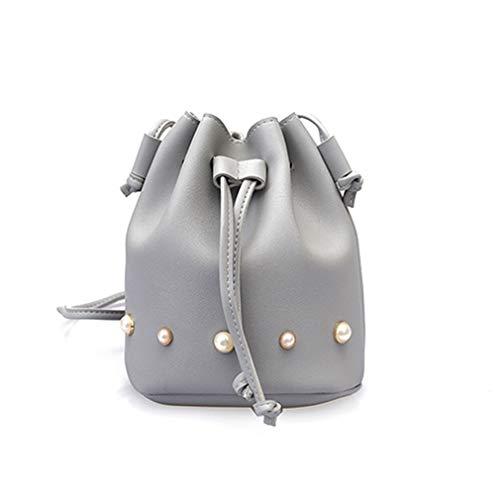 Lazo 17x20x13cm de Las Moda Cubo Bolso del el la Hombro del de Mujeres Bolso de Gray Black para Of1x4q0Bw