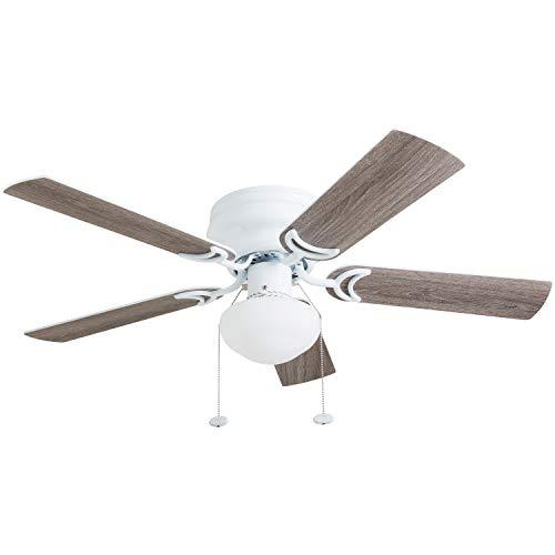 Prominence Home 80092-01 Alvina Ceiling Fan, Barnwood / White Blades, LED Globe Light Hugger/Low Profile, 42